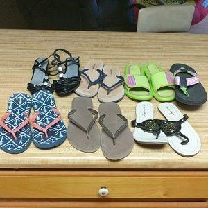 Bundle of flip flops and sandals